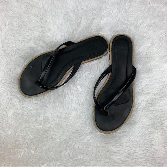 cd2c0fbd763 UGG Black Patent Leather Thong Sandals Size 8
